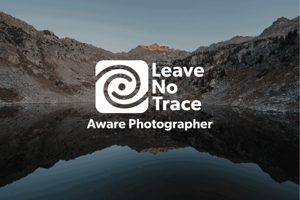 Landscape with a badge that states - Leave No Trace Aware Photographer