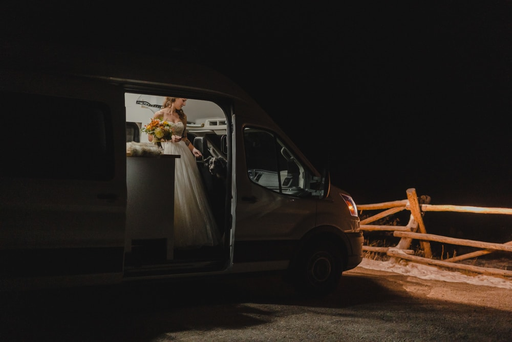 bride prepping in RV for elopement