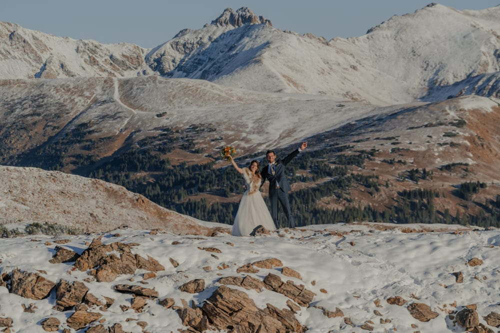 snow filled morning as couple elopes at loveland pass