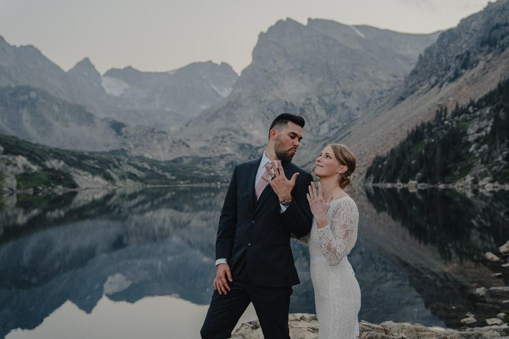 eloping couple at Lake Isballe