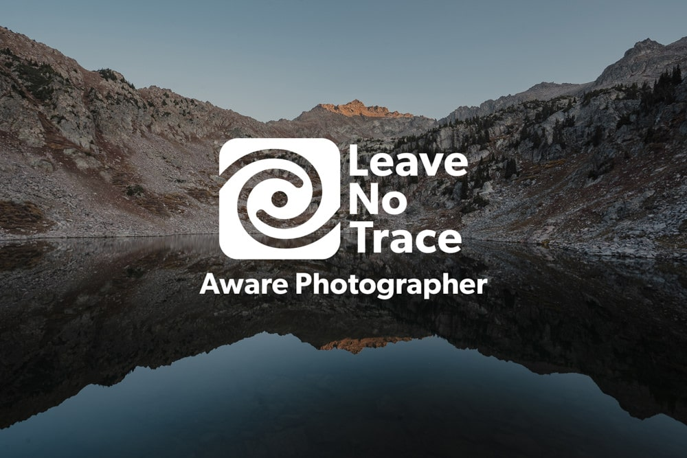 landscape photo with Leave No Trace Aware Badge overlayed on image