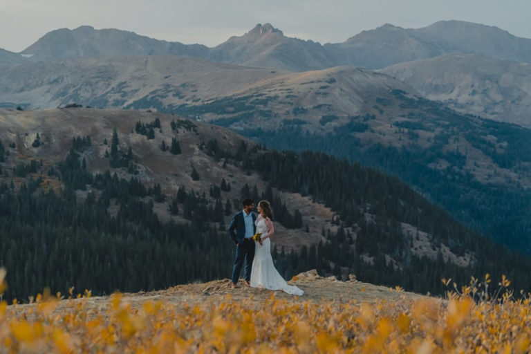 sunset photo of couple eloping in Colorado